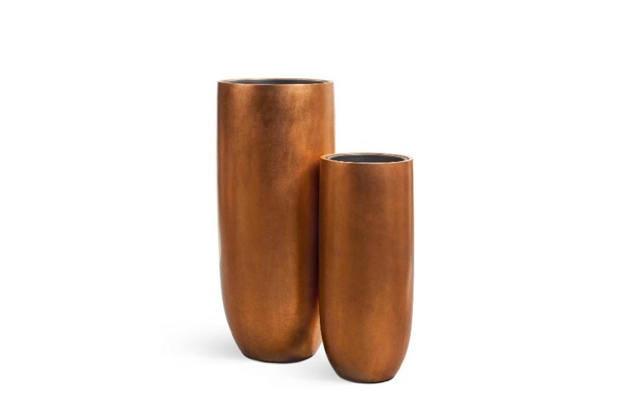 Кашпо Treez Effectory Metal высокий округлый конус медь от 72 до 95 см