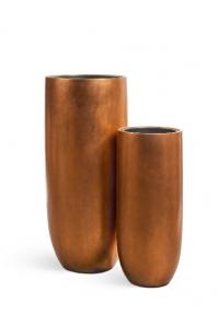 Кашпо Treez Effectory серия Metall высокий округлый конус медь от 72 до 95 см