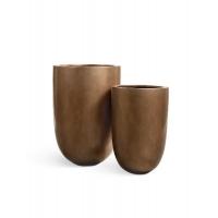 Кашпо Treez Effectory серия Metall высокий конус темное-золото от 55 до 67 см