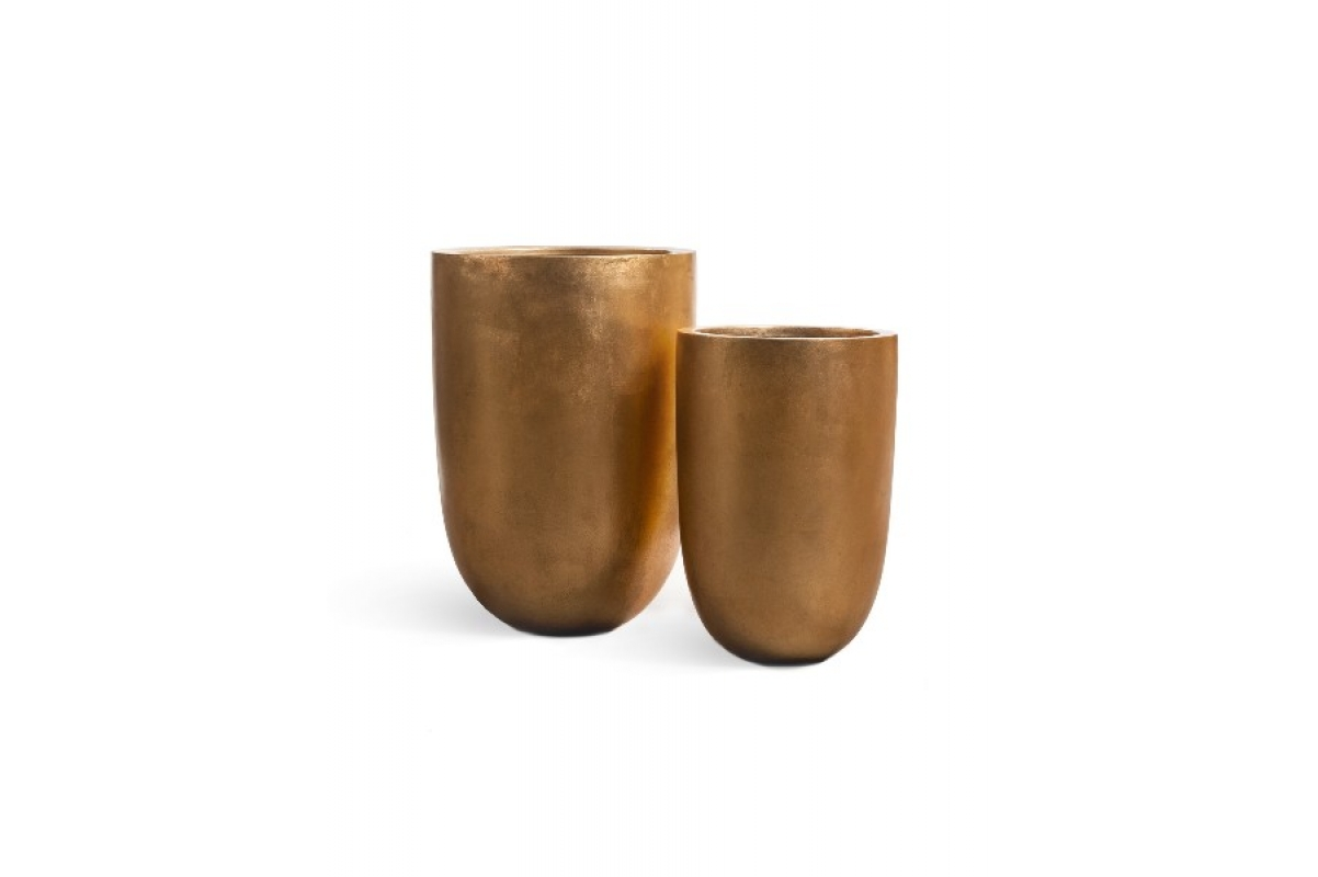 Кашпо Treez Effectory Metall высокий конус золото от 55 до 67 см