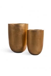 Кашпо Treez Effectory серия Metall высокий конус золото от 55 до 67 см