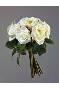Букет из Роз искусственный бело-зеленый с розовым 35 см