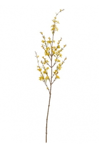 Ветка Форзиции цветущая искусственная средняя светло-желтая 135 см