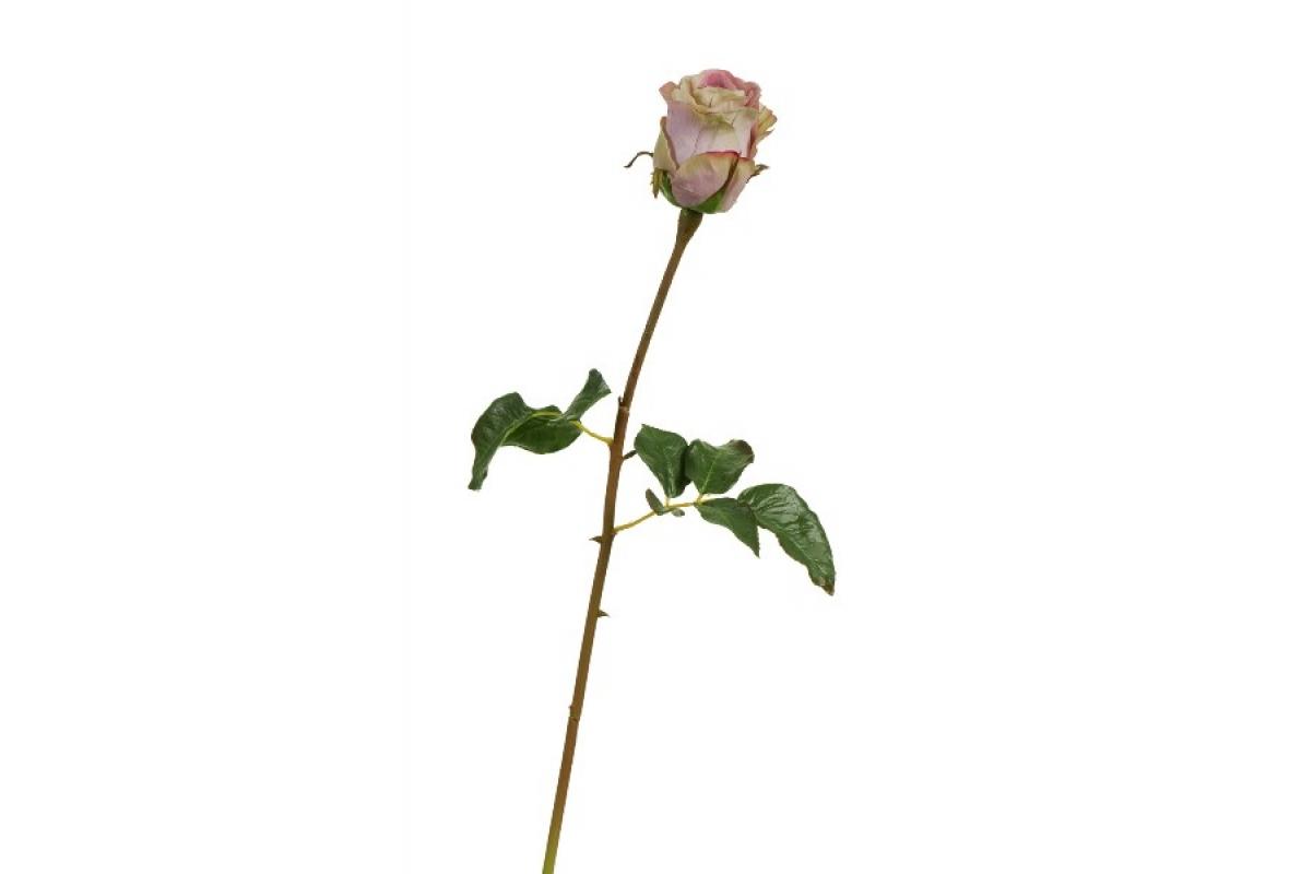 Роза Аква искусственная пудрово - сиреневая с лаймом 56 см