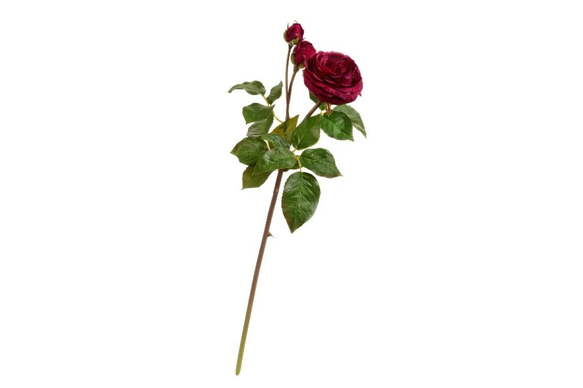 Роза Дэвид Остин Мидл ветвь искусственная винная 50 см
