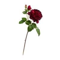 Роза Дэвид Остин Роял ветвь искусственная бордово-красная 58 см