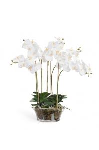 Композиция Орхидея Фаленопсис в низкой круглой вазе искусственная белая с мхом, корнями, землей 70 см (Real Touch)