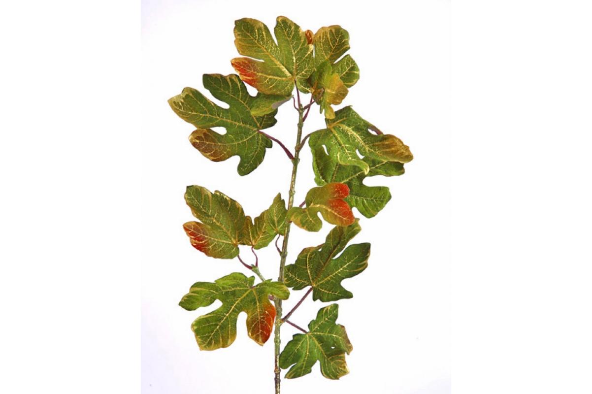 Набор Листьев 12 шт искусственных зеленых с золотым 90 см