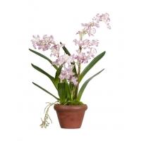 Орхидея Дендробиум искусственная сиренево-белая в кашпо 60 см (Real Touch)