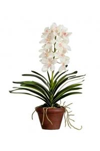 Орхидея Ванда большая искусственная кремово-розовая в кашпо 52 см (Real Touch)