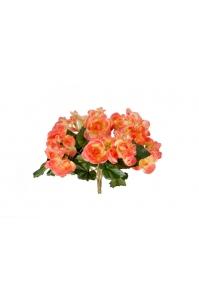 Бегония искусственная цветущая куст без кашпо нежно-коралловый  20 см
