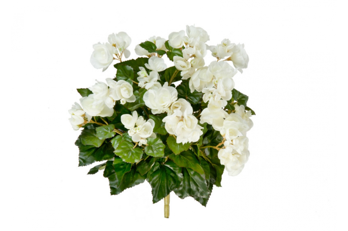 Бегония искусственная цветущая куст без кашпо 38 см (7 расцветок) (Цвет:кремовый)