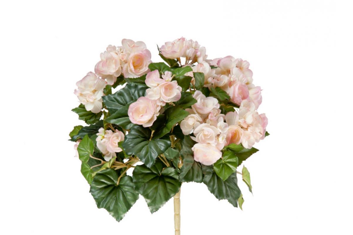 Бегония искусственная цветущая светло-розовая 38 см