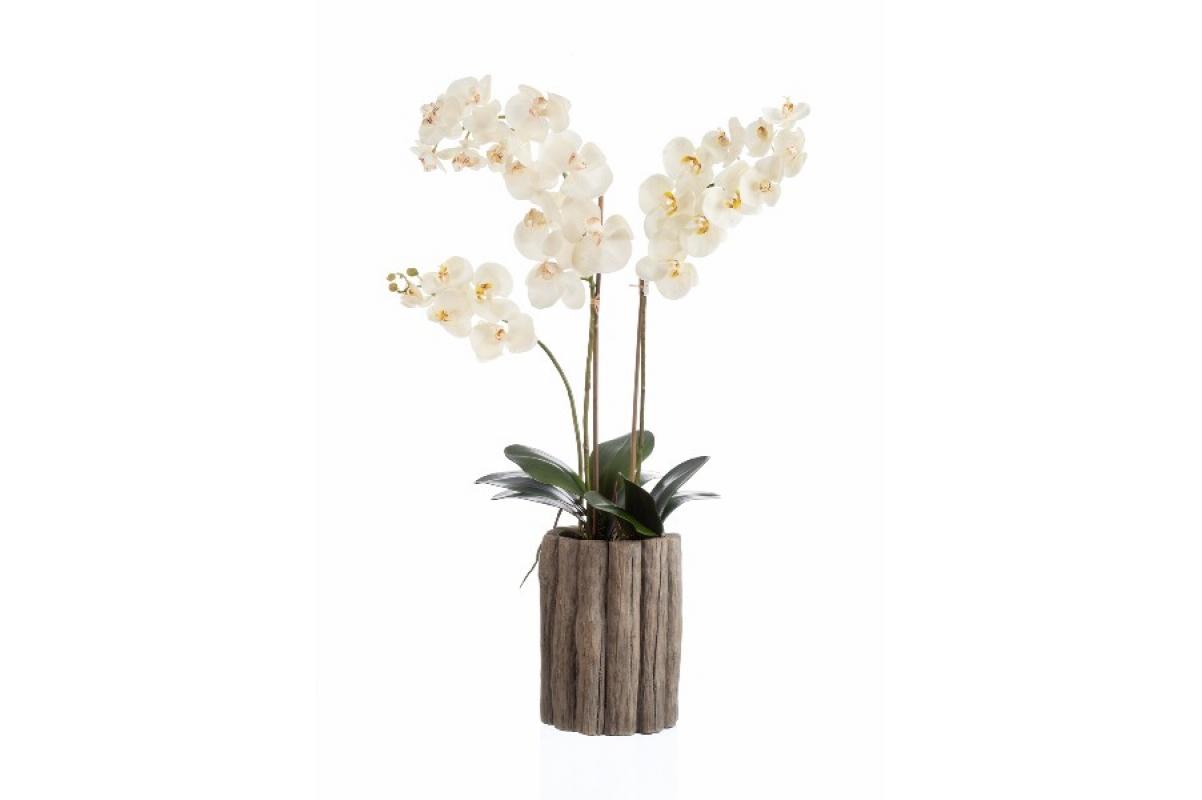 Композиция Орхидея Фаленопсис искусственная белая в деревянном кашпо 90 см (Real Touch)