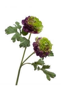 Ранункулюс махровый искусственный зелено-фиолетовый 62 см