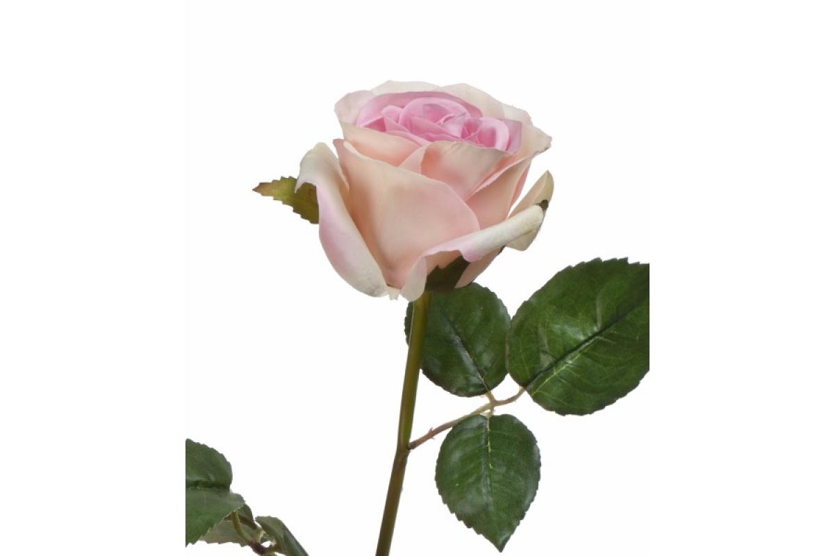 Роза Джулии искусственная нежно-розовая с кремовым 53 см