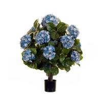 Гортензия Куст макси в горшке искусственная темно-голубая 70 см