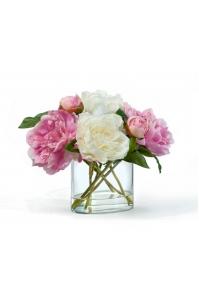 Пионы в овальной вазе с водой искусственные бело-розовые 28 см