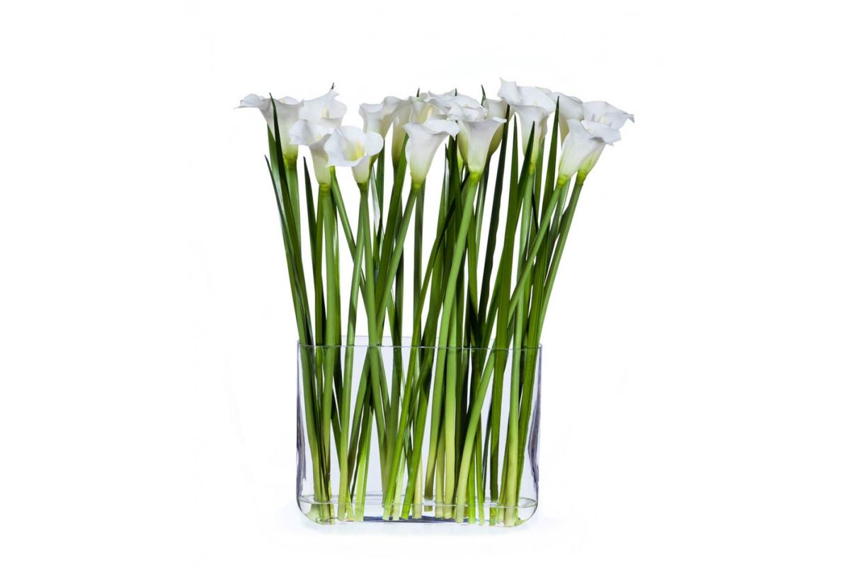 Каллы в дизайн-стекле с водой искусственные белые 70 см