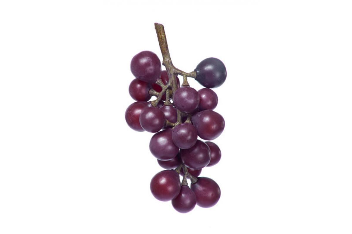 Виноград черный гроздь малая искусственный бордовый 15 см