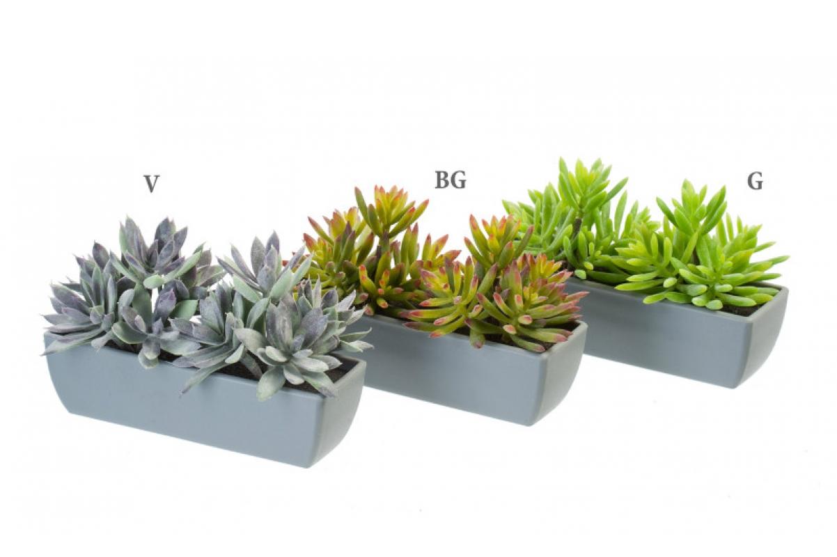 Седум искусственный зеленый в кашпо 12 см - Фото 2