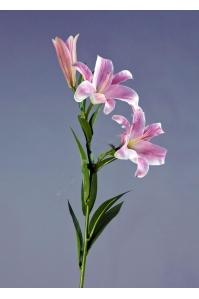 Лилия Донателло искусственная ветвь нежно-розовая с белым 88 см (Real Touch)