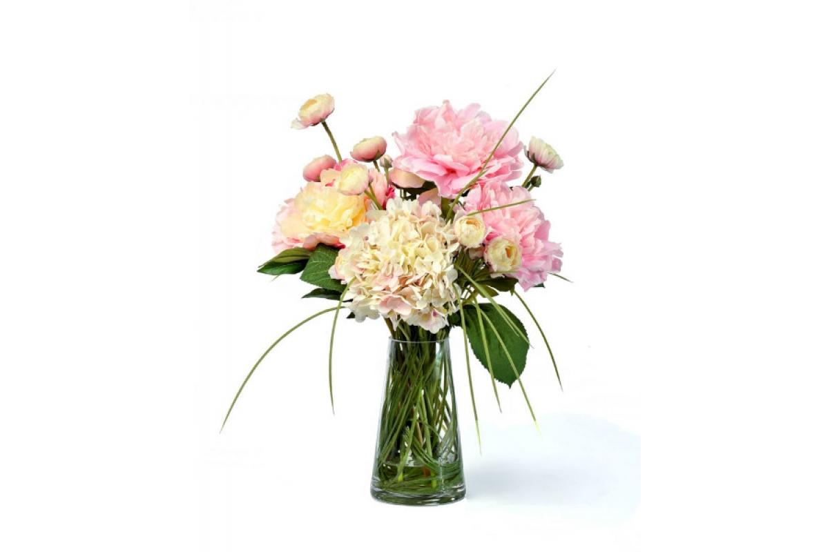 """Композиция из искусственных цветов """"Summer Garden"""" в стеклянной вазе 45 см"""