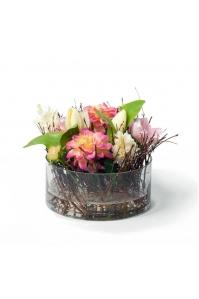 """Композиция из искусственных цветов в веточках """"L'Humeur De La Nature"""" в стеклянной вазе 19 см"""