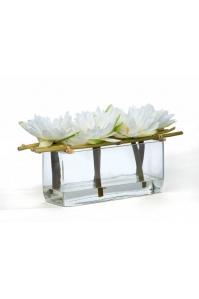 """Композиция из искусственных цветов """"Harmony Asia"""" в прямоугольной вазе 17 см"""