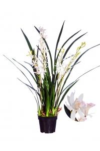 Орхидея Цимбидиум Элегант искусственная белая в кашпо 97 см (Real Touch)
