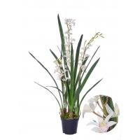 Орхидея Цимбидиум-мини Элегант искусственная белая в кашпо 96 см (Real Touch)