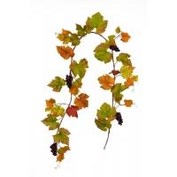 Виноградная Гирлянда искусственная зелено-оранжевая с бордовым виноградом 180 см