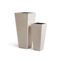 Кашпо Treez Effectory серия Beton высокая трапеция белый песок от 67 до 90 см