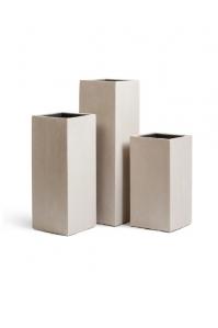 Кашпо Treez Effectory серия Beton высокий куб белый песок от 60 до 97 см