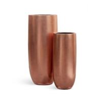 Кашпо Treez Effectory серия Metall высокий округлый конус розовая медь от 72 до 95 см