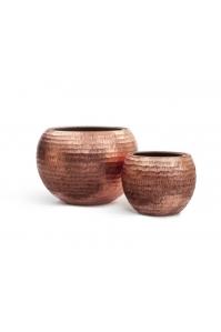 Кашпо Treez Effectoty -  серия Metall полусфера розовая медь чеканка 40, 60 см