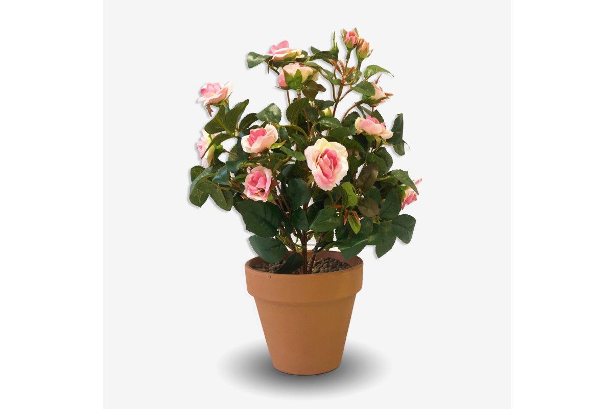Искусственная Роза кустовая в кашпо светло-розовая 35 см