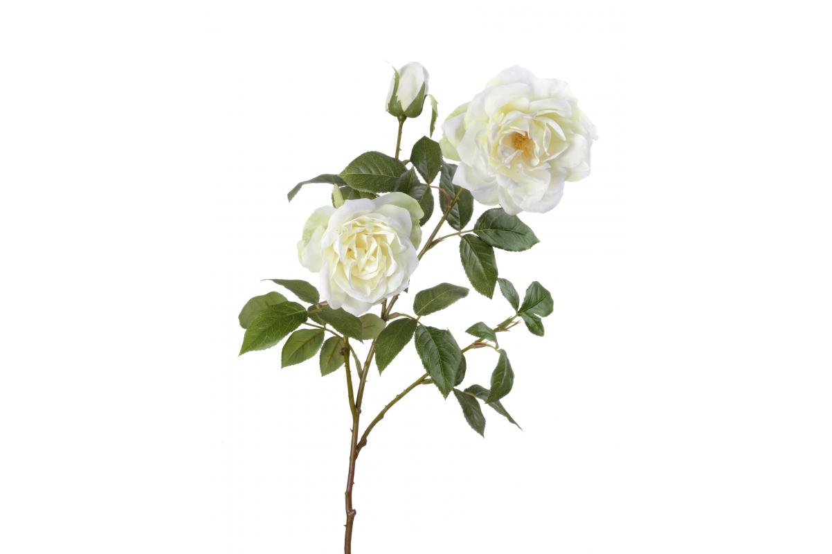 Роза Эльфе искусственная белая ветвь 66 см