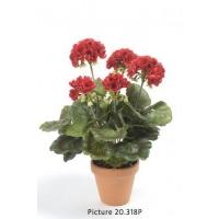 Герань махровая искусственная красная в терракотовом кашпо 40 см