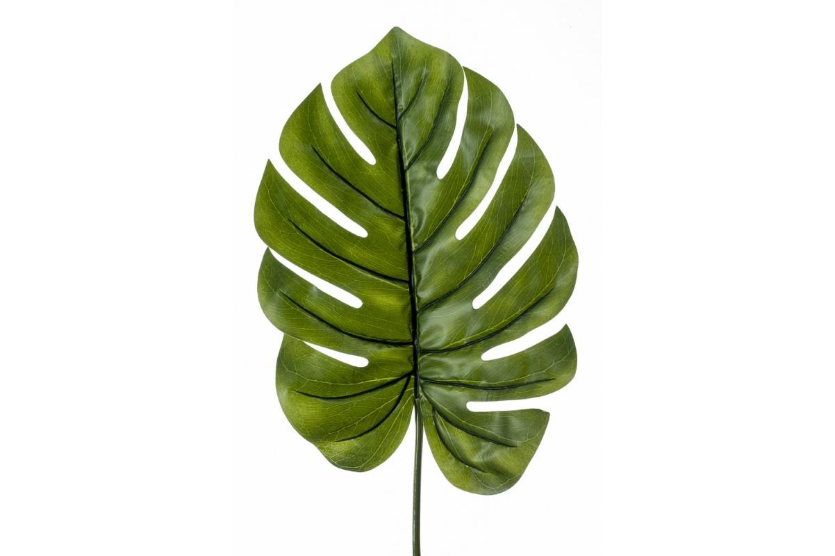 Лист Монстеры искусственный XL зеленый 95 см