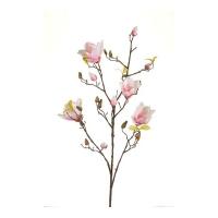 Магнолия ветка искусственная цветущая розово-белая 105 см