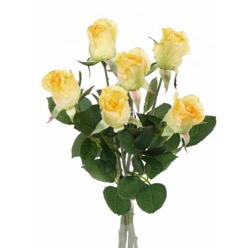 Букет из Роз искусственный желтый 38 см (real touch)