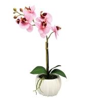 Композиция из Орхидеи Фаленопсис искусственная светло-розовая 45 см (real touch)