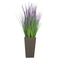Трава с узким соцветием искусственная зелено-фиолетовая в высоком кашпо 100 см