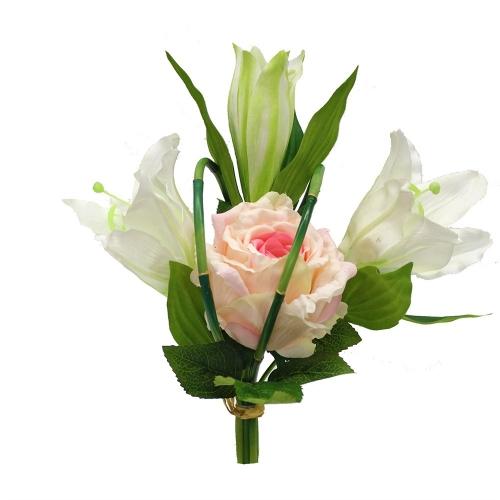 Букет из Лилии и Розы искусственный бело-розовый 33 см