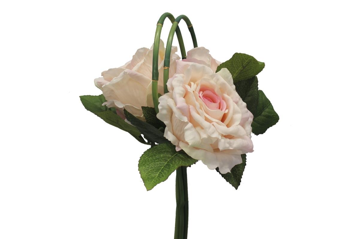 Букет из Роз искусственный бело-розовый 33 см