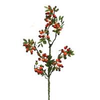 Ветка Шиповника с ягодами искусственная 100 см