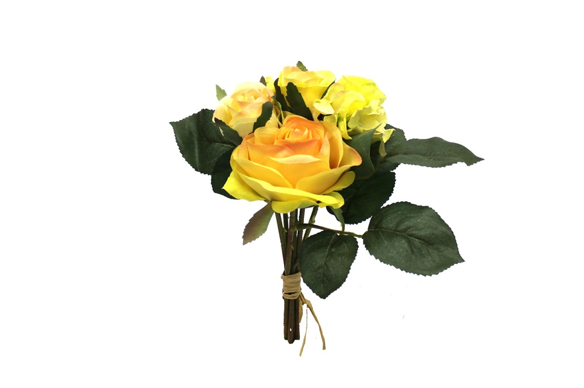Букет из Роз и Гортензий искусственный желтый 22 см