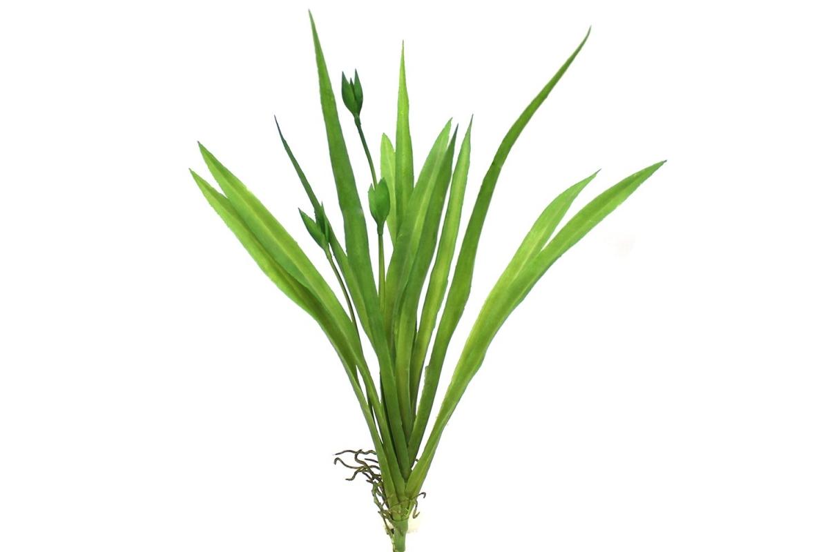 Куст травы с 3-мя побегами и корнями искусственный зеленый 29 см