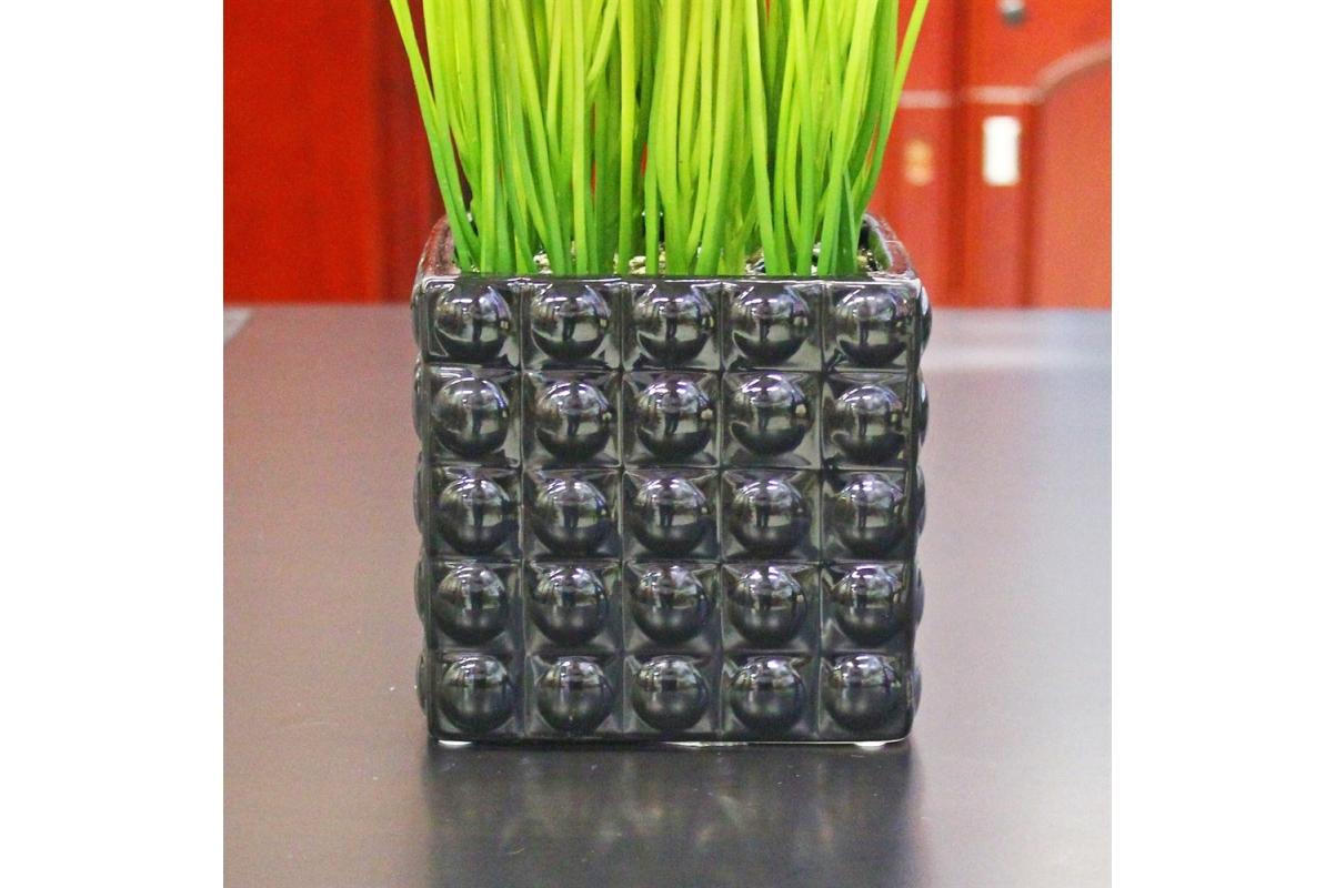 Трава искусственная высокая светло зеленая в квадратном кашпо 80 см - Фото 2